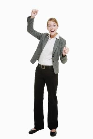 Businesswoman celebrating her success photo