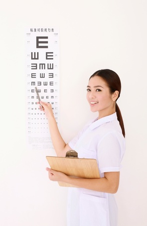 Optometrist pointing at eye chart photo