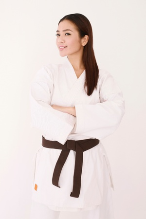 martial arts woman: Woman in karate uniform