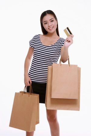 Woman holding credit card and shopping bags photo
