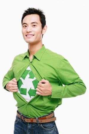 Man tearing shirt open revealing recycling symbol Stock Photo - 9521222