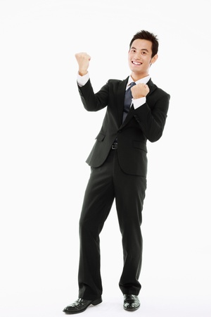 Businessman celebrating his success photo