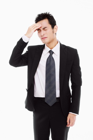 Businessman with hand on his head photo