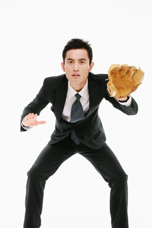 gant de baseball: Businessman with baseball glove