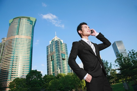 Businessman talking on the mobile phone Stock Photo