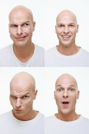 bald head: Man making a series of exaggerated faces for the camera