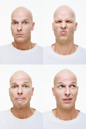 Man making a series of exaggerated faces for the camera photo