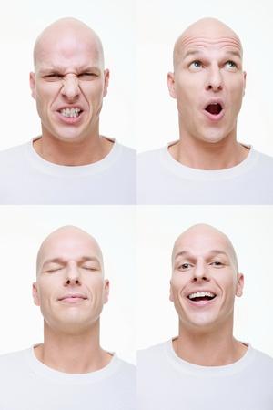 ojos cerrados: Hombre realizando una serie de caras exageradas de la c�mara