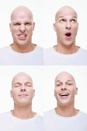closed eyes: Man die een reeks van overdreven gezichten voor de camera
