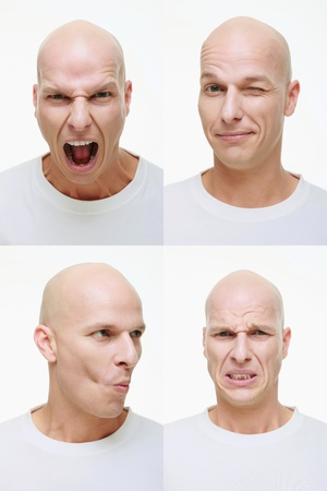 disgusted: Man making a series of exaggerated faces for the camera