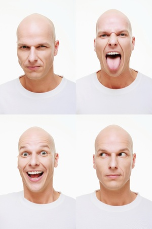 bald man: Man making a series of exaggerated faces for the camera