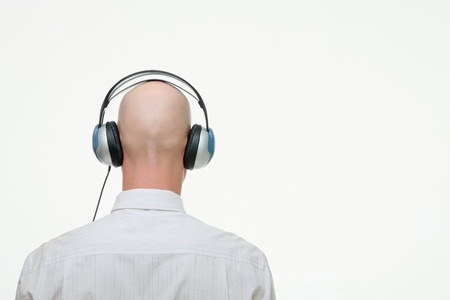 Businessman with headphones on photo