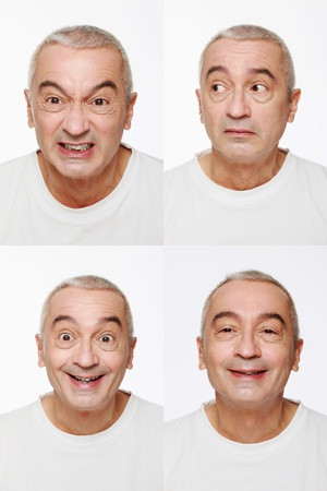 Man making a series of exaggerated faces for the camera Stock Photo - 9525591