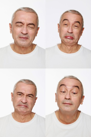 Man making a series of exaggerated faces for the camera Stock Photo - 9525863