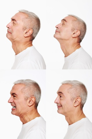 clenching teeth: Man making a series of exaggerated faces for the camera