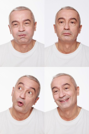 puffed cheeks: Man making a series of exaggerated faces for the camera