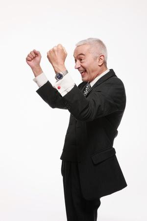 cheer full: Businessman celebrating his success