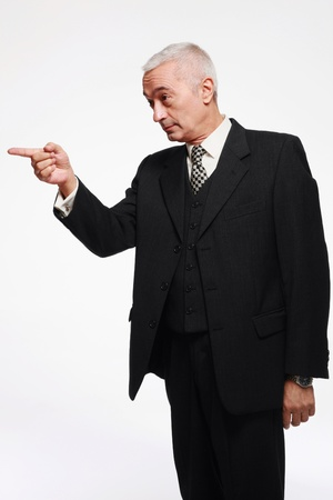 man scolding: Businessman giving warning Stock Photo