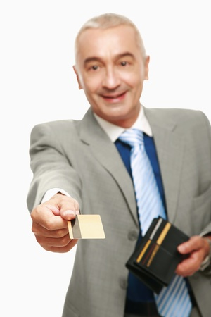 Businessman making payment with his credit card photo