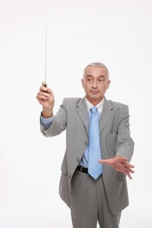 conducting: Businessman conducting