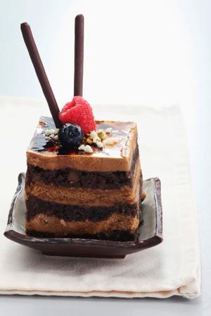 pretzel stick: Chocolate coffee layered cake