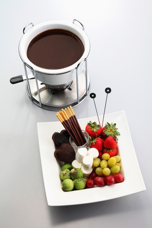pretzel stick: Chocolate fondue Stock Photo