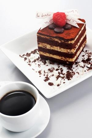 Tiramisu with raspberry on top photo