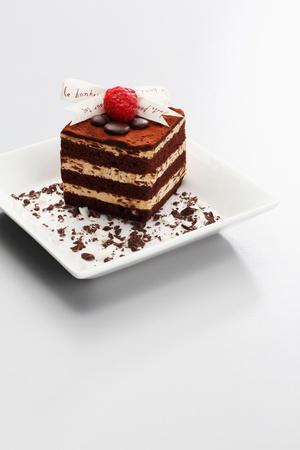 tiramisu: Tiramisu with raspberry on top