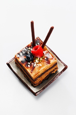 pretzel stick: Chocolate coffee layered cake  Stock Photo