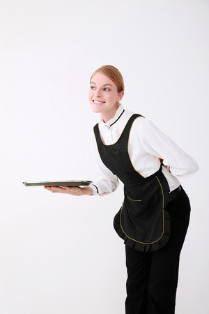 Waitress smiling while greeting photo