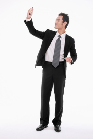 Businessman taking picture using electronic organizer photo