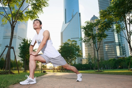 sports clothing: Man exercising in the park