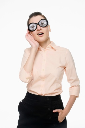 funny glasses: Businesswoman with funny glasses