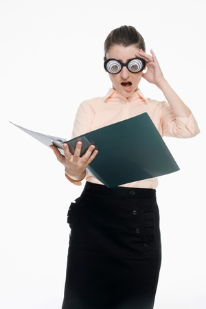 funny glasses: Businesswoman with funny glasses reading document