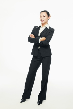 Businesswoman standing with her arms crossed photo