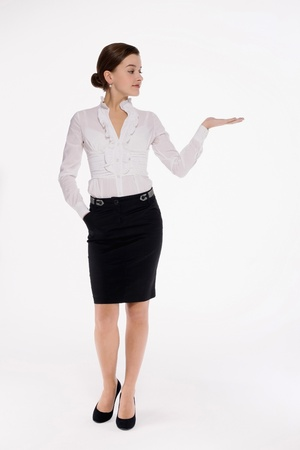 Businesswoman with arm outstretched Stock Photo - 9605609