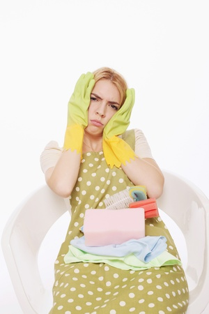 Woman with rubber gloves putting hands on head Stock Photo - 9605753