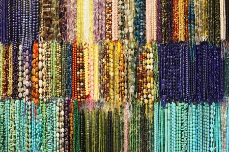 colorful beads: Bead necklaces at a market stall Stock Photo