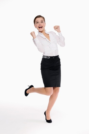 Businesswoman celebrating her success photo