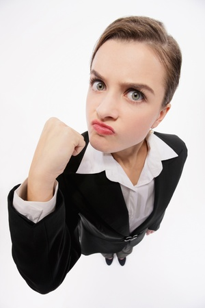 clenching: Businesswoman clenching her fist Stock Photo