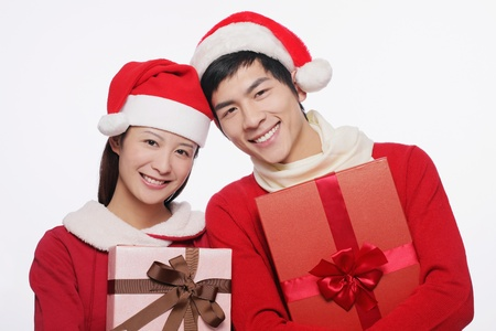Man and woman with their gifts photo