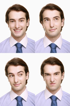 Montage of businessman pulling different expressions Stock Photo - 9901030