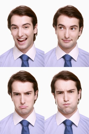puffed cheeks: Montage of businessman pulling different expressions