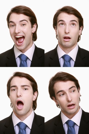Montage of businessman pulling different expressions Stock Photo - 9901070