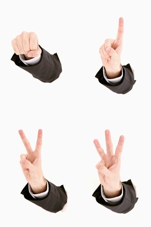 Montage of hands doing different hand signals photo
