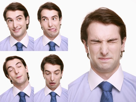 Montage of businessman pulling different expressions Stock Photo - 9901057