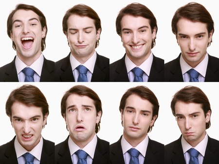 Montage of businessman pulling different expressions photo
