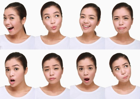whistling: Montage of woman pulling different expressions