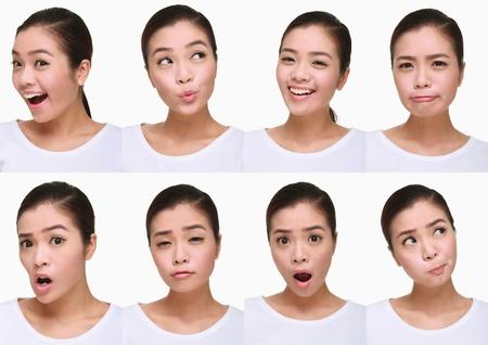 Montaje de mujer tirando diferentes expresiones Foto de archivo