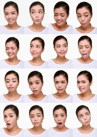 squinting: Montage of woman pulling different expressions